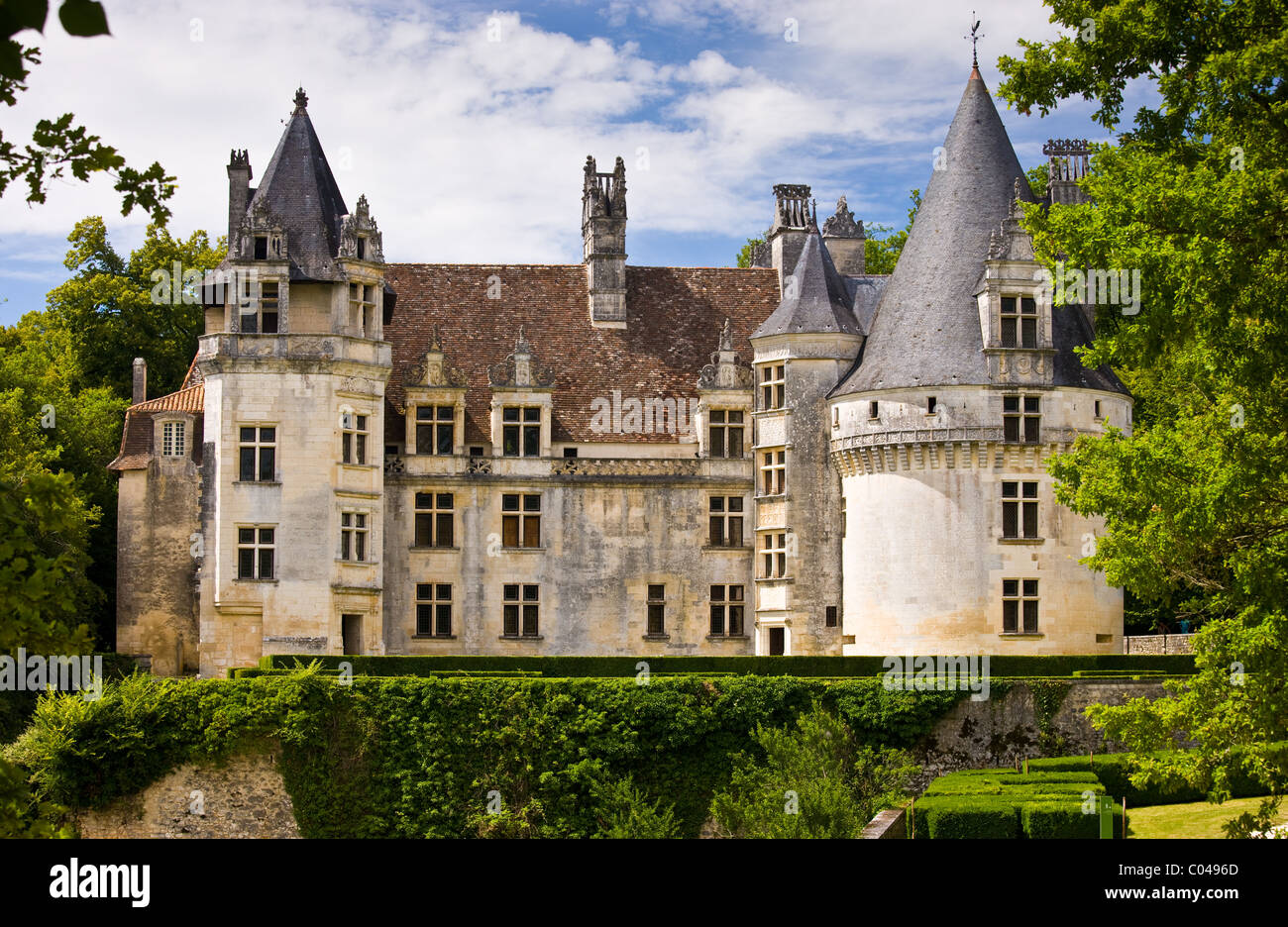 Chateau de Puyguilhem, 16th Century renaissance architecture near Villars, The Dordogne, France - Stock Image