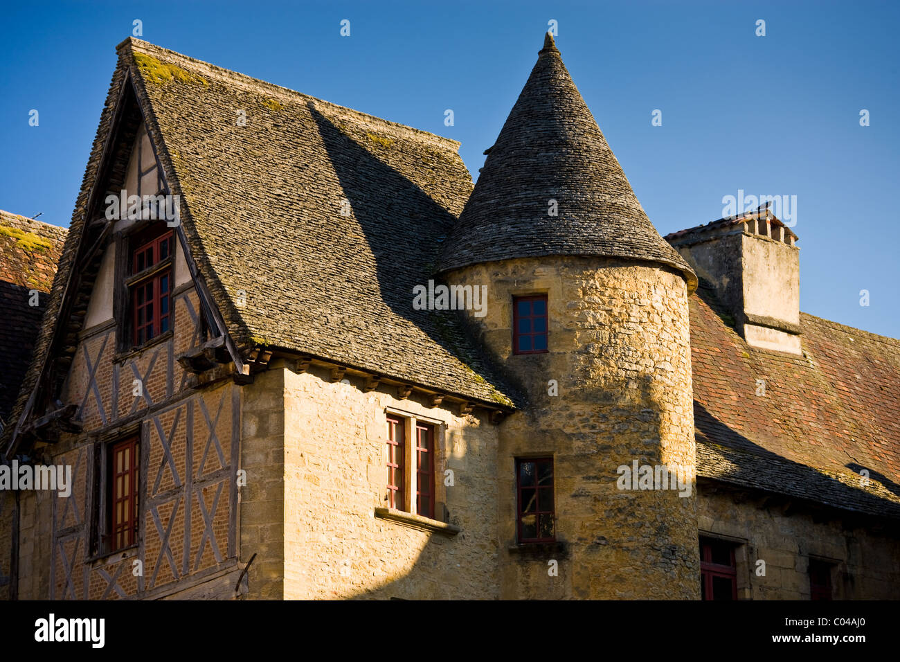 Typical French architecture in popular picturesque tourist destination of Sarlat in Dordogne, France - Stock Image