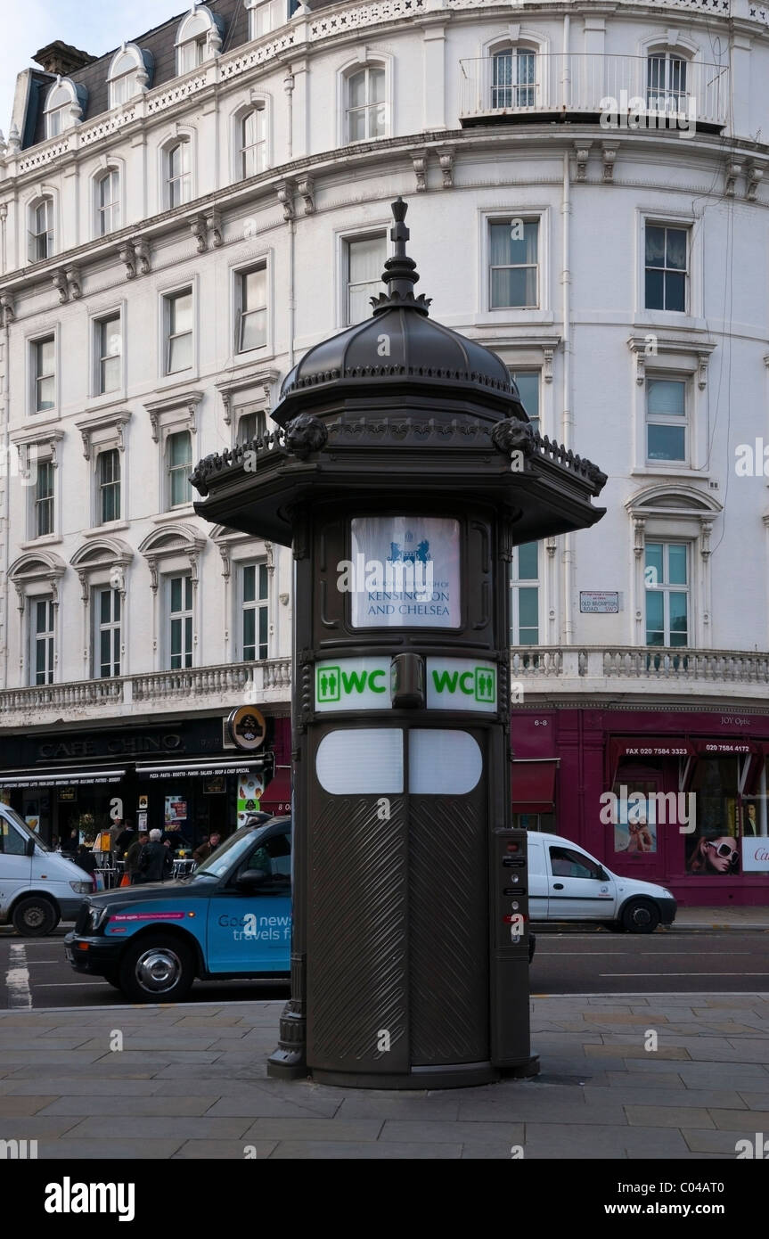 Old Brompton Road, The Royal Borough of Kensington and Chelsea public toilet, street architecture, café, city - Stock Image