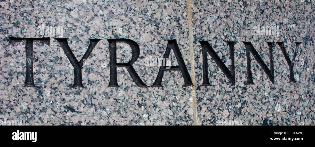 The National World War II Memorial in Washington, DC.  Many words deserving of their own treatment are carved in - Stock Image