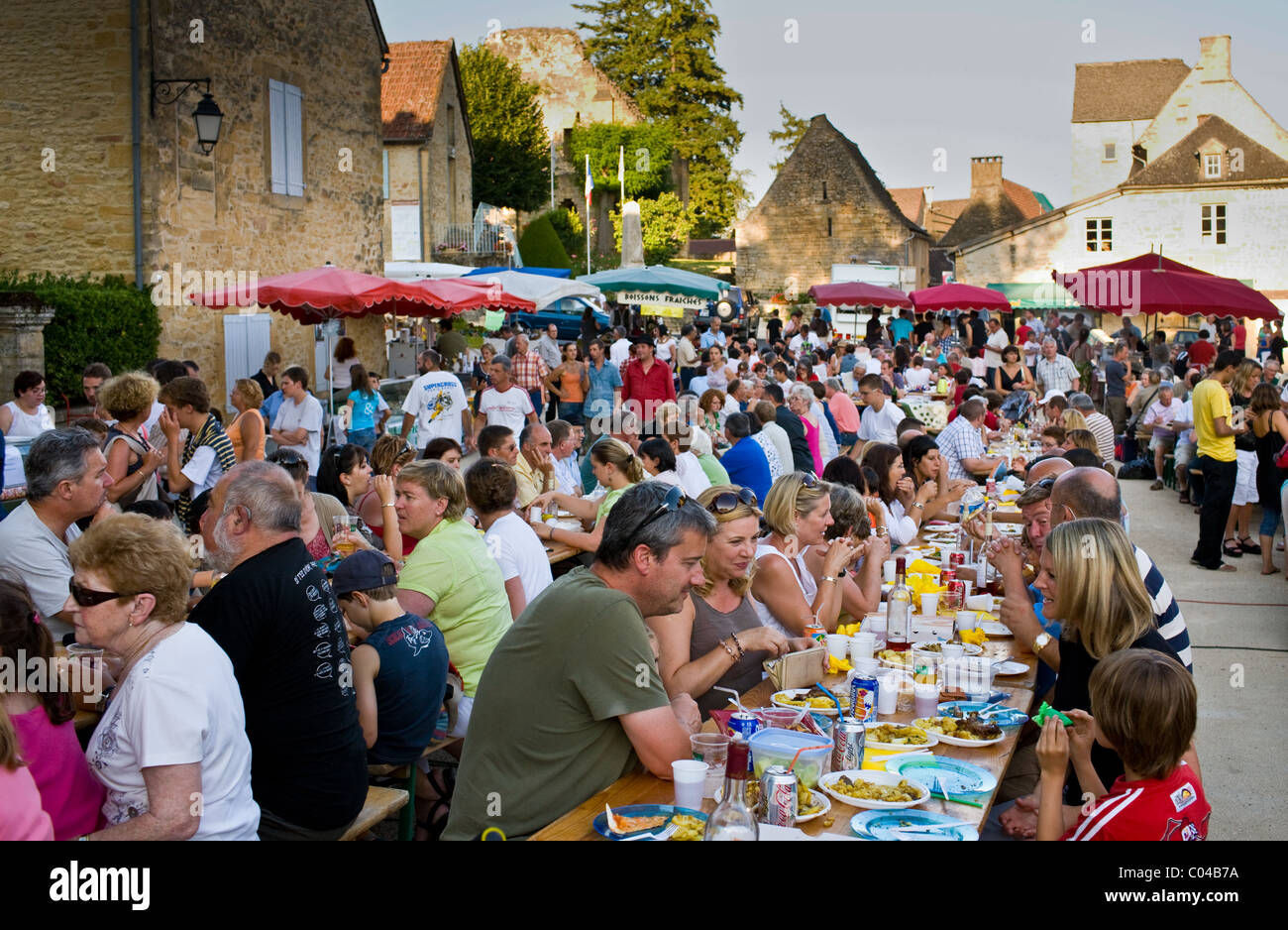 Village fete traditional festival in St Genies in the Perigord region, France - Stock Image
