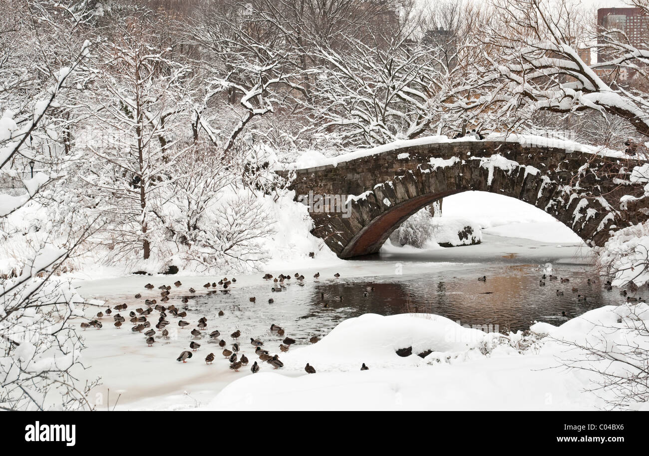 Gapstow Bridge in Central Park, NYC after a Snowstorm - Stock Image