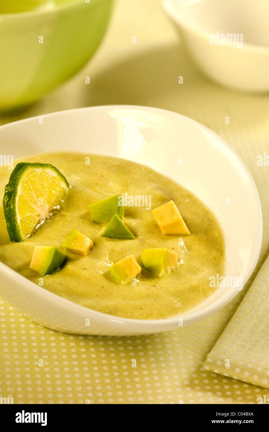 a recipe of soup with avocado - Stock Image