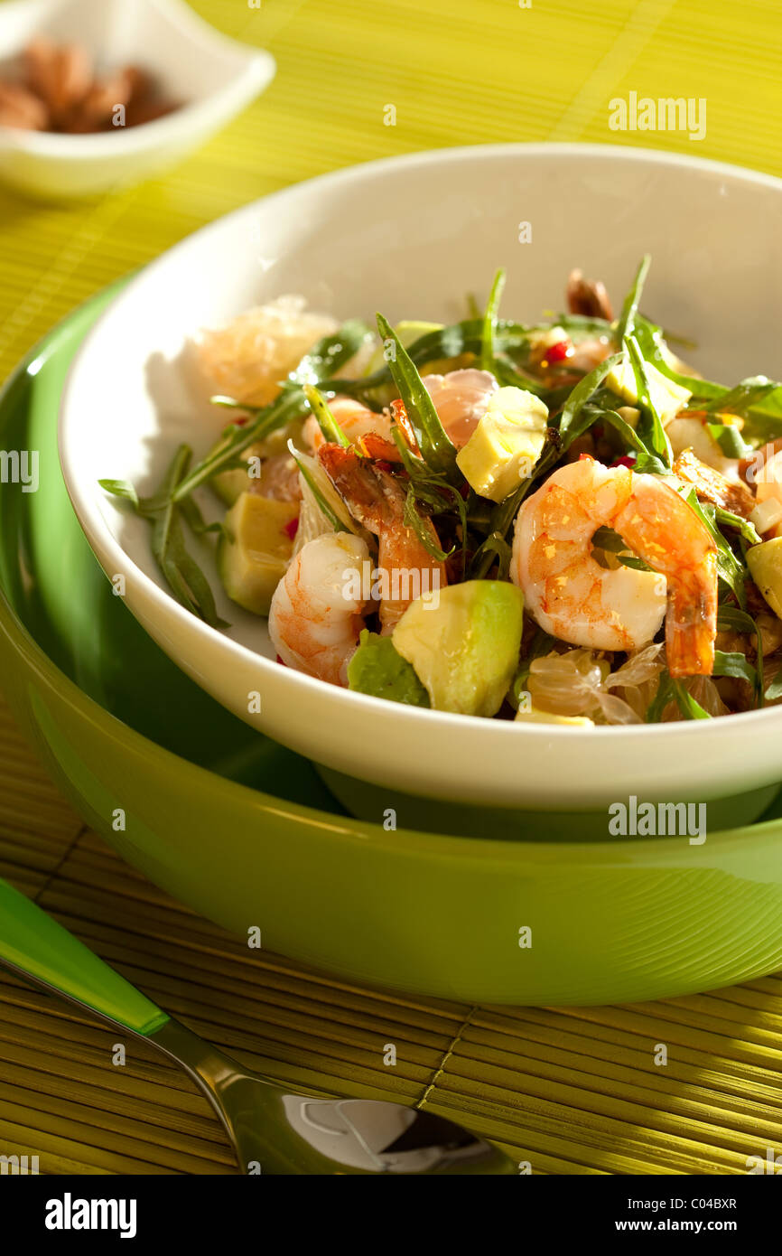 salad recipe with shrimp and avocado - Stock Image