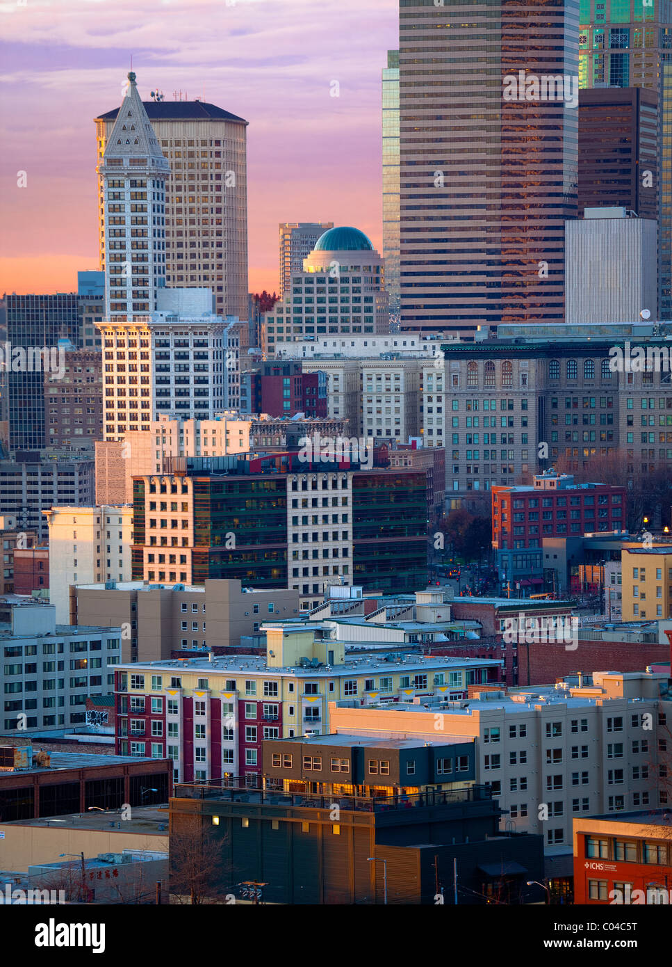 Buildings in downtown Seattle - Stock Image
