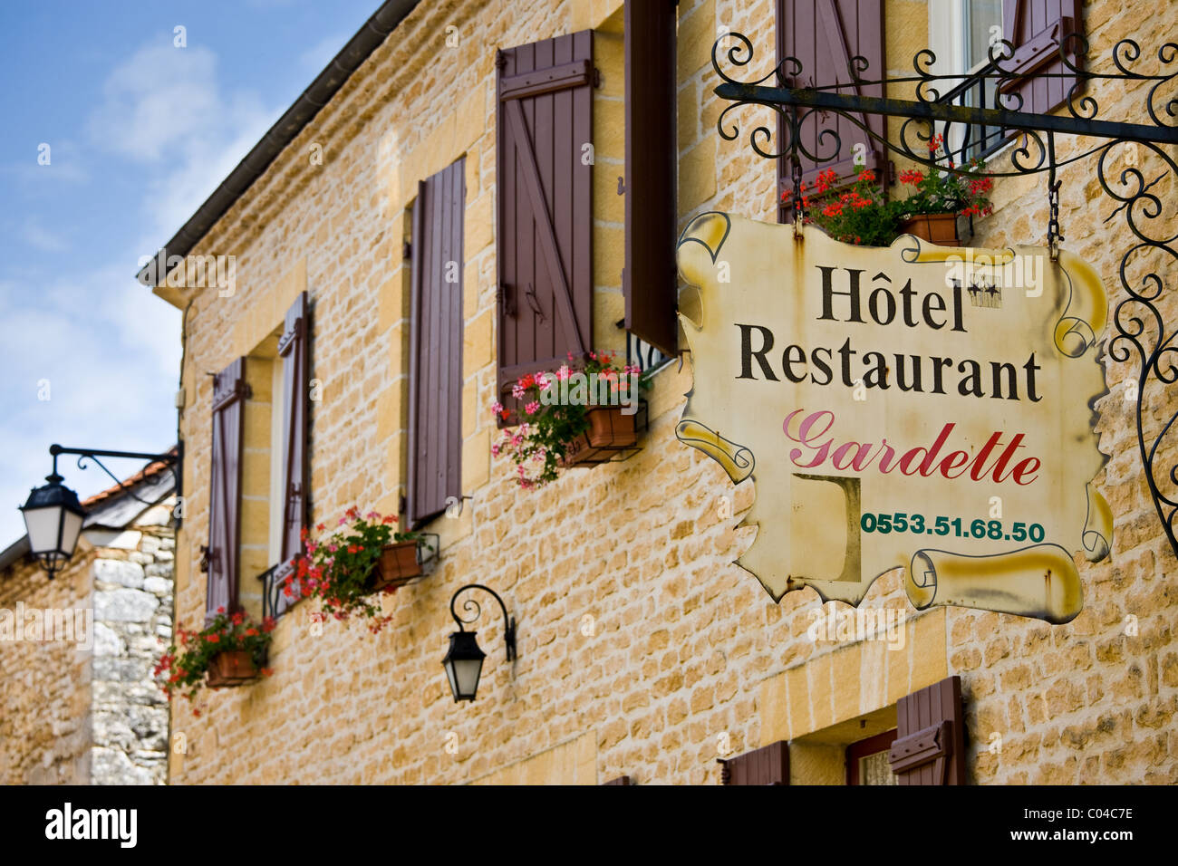 Hotel Restaurant Gardette sign, France Beautiful village of St Amand de Coly, Dordogne in Aquitaine, France - Stock Image