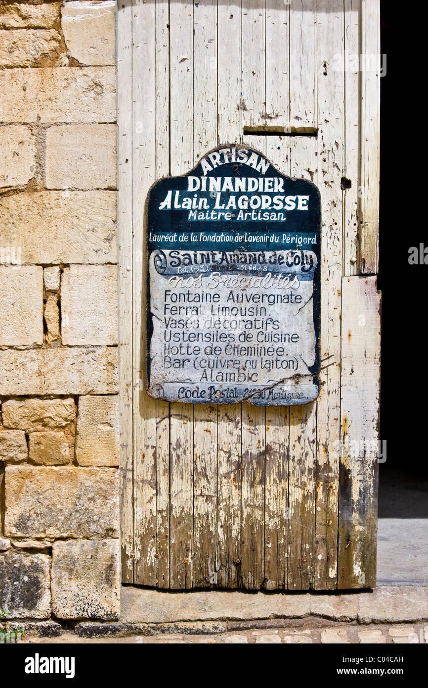Premises of artisan Dinandier blacksmith Alain LaGorsse at St Amand de Coly, Dordogne, France - Stock Image