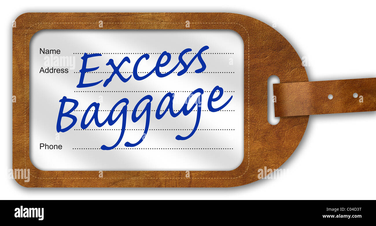 Suitcase/Luggage Label with 'Excess Baggage' written on - Stock Image