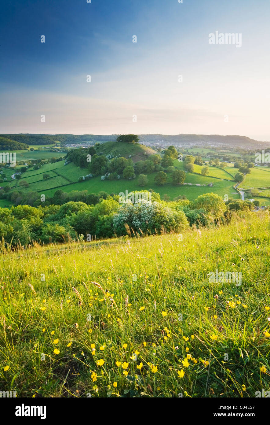 Downham Hill from Uley Bury. The Cotswolds. Gloucestershire. England. UK. Stock Photo
