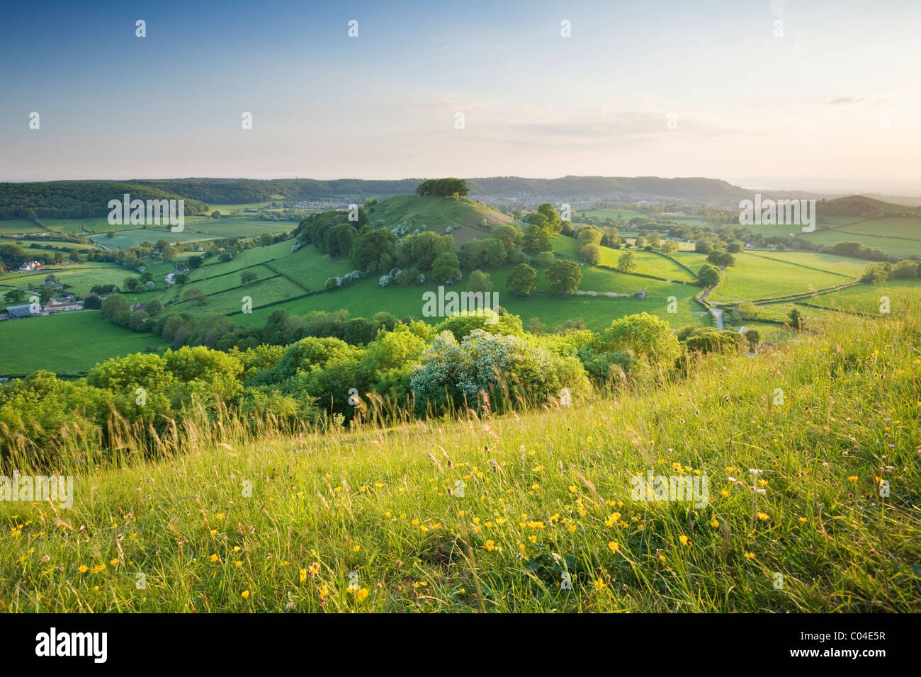 Downham Hill from Uley Bury. The Cotswolds. Gloucestershire. England. UK. Stock Photo