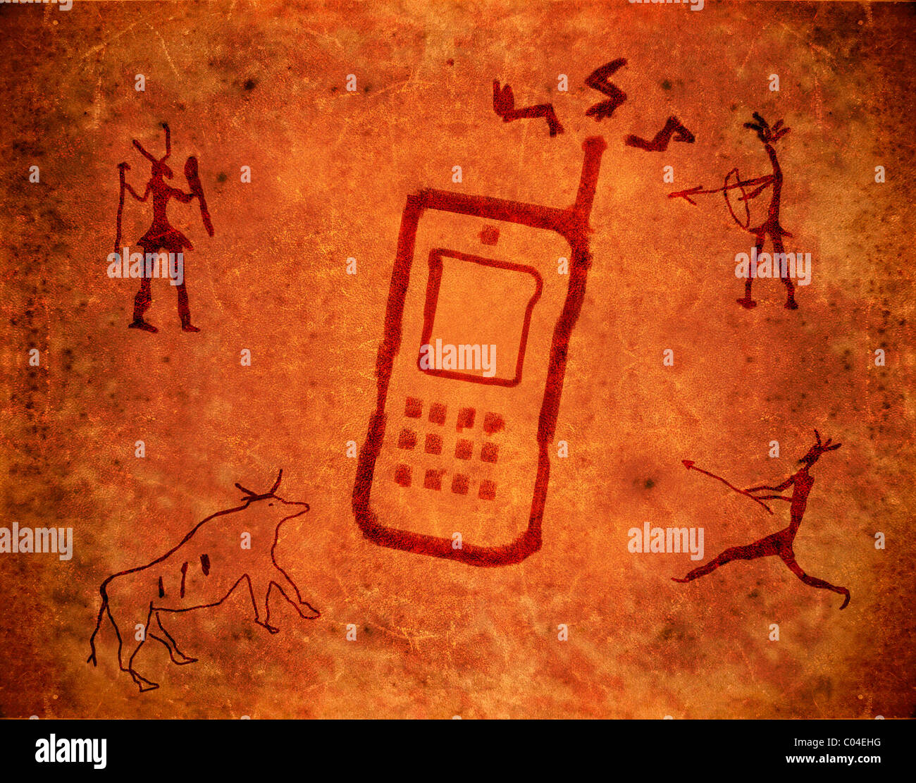 prehistoric paint with mobile phone Stock Photo