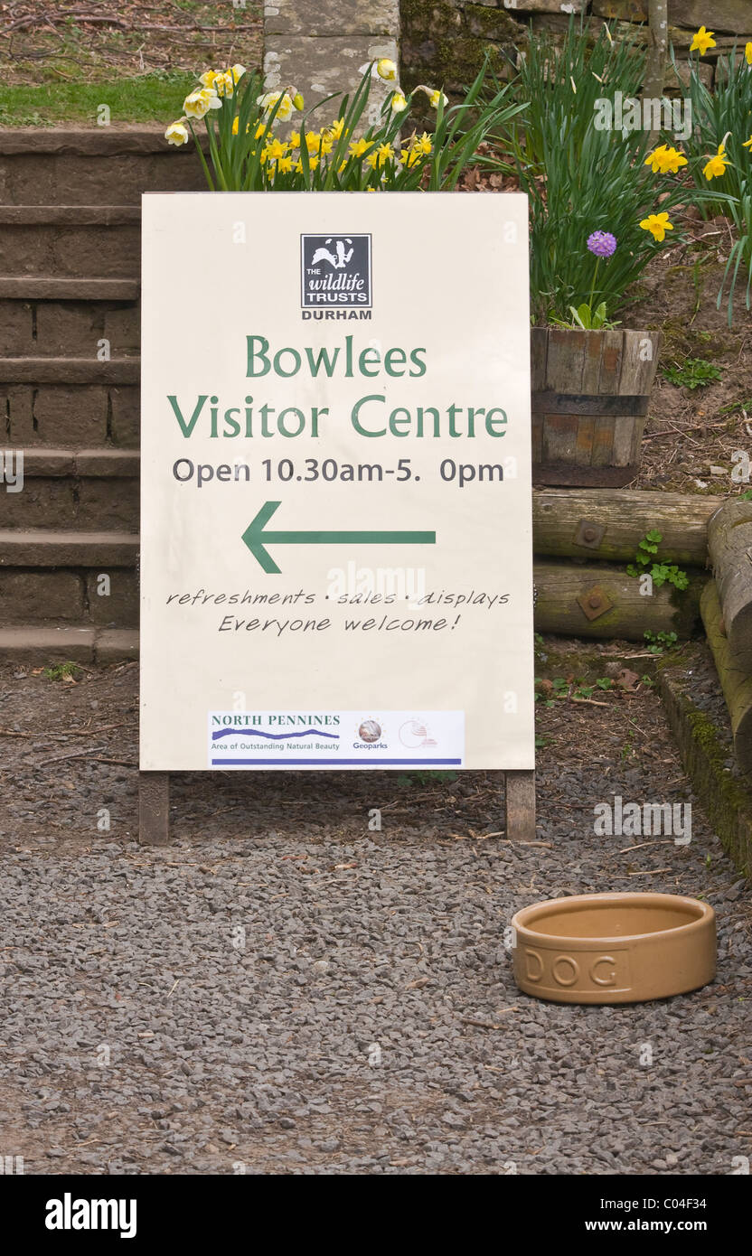 Bowlees Visitor Centre at Bowlees in Teesdale extends a welcome to visitors with 4 legs as well as 2 - with dog - Stock Image
