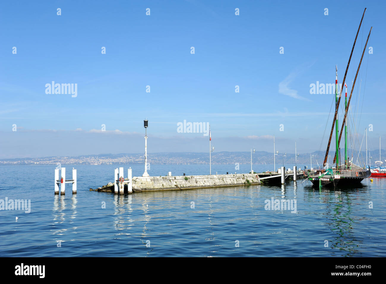 Lake Geneva at Evian-les-Bains, France Stock Photo