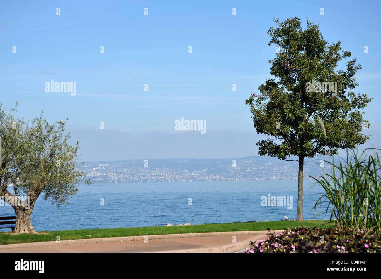 Lake Geneva at Evian-les-Bains, France - Stock Image