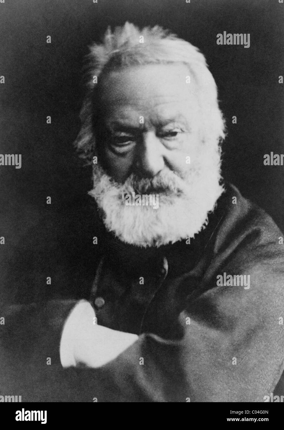 Portrait photo circa 1870s of French poet, playwright, novelist and artist Victor Hugo (1802 - 1885). - Stock Image