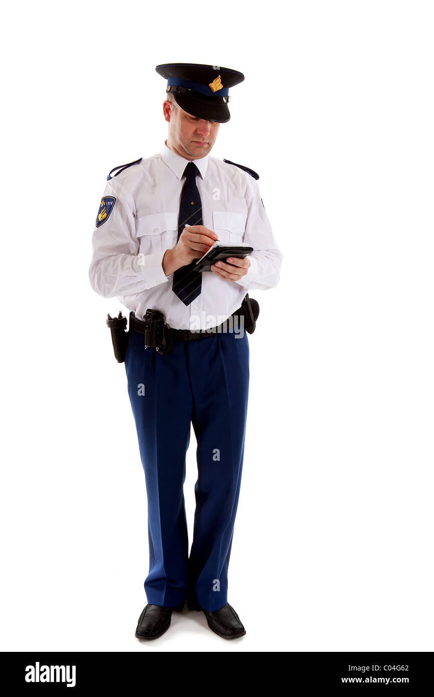 Dutch police officer filling out parking ticket. over white background - Stock Image