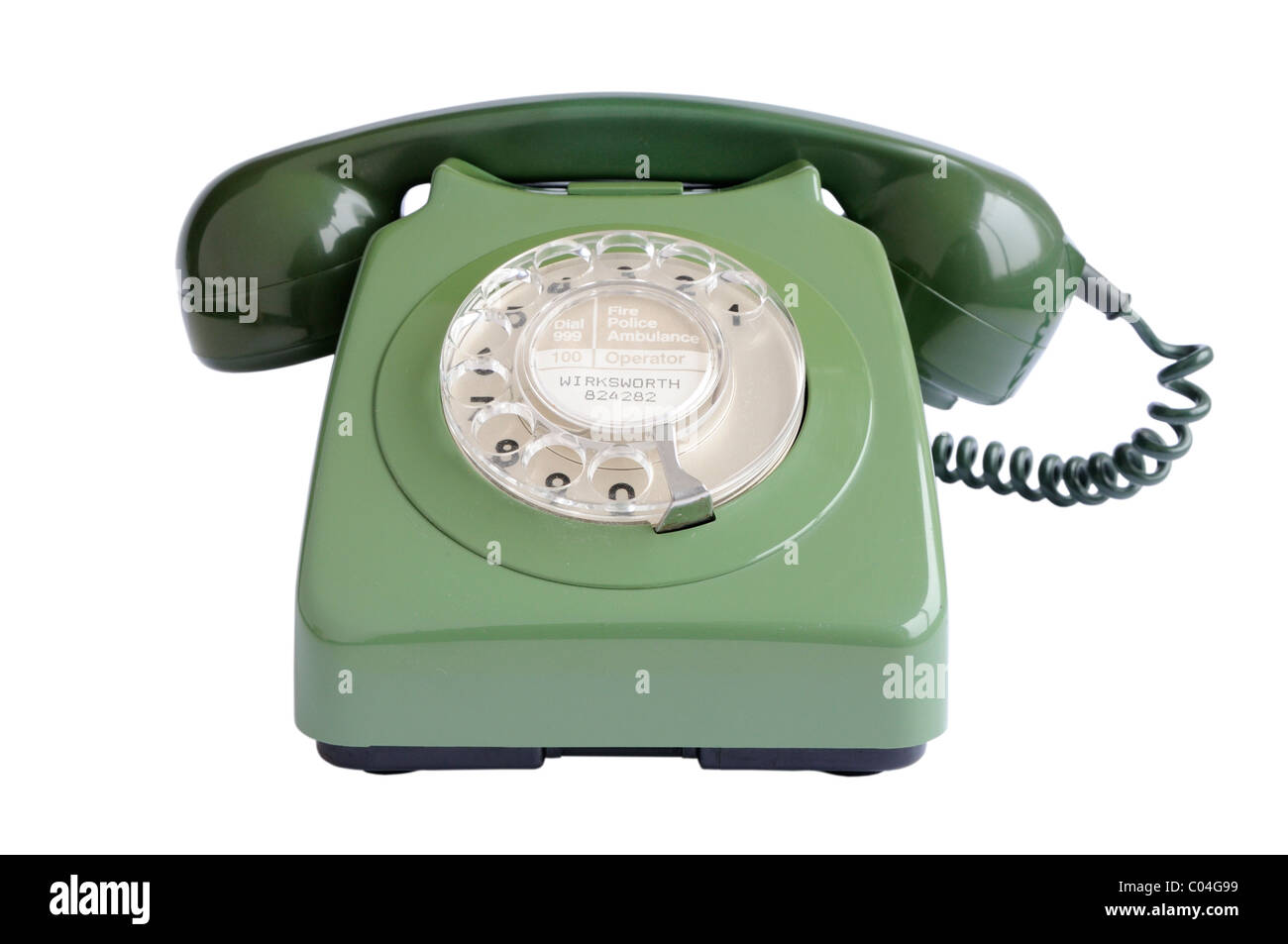 Old green telephone - Stock Image