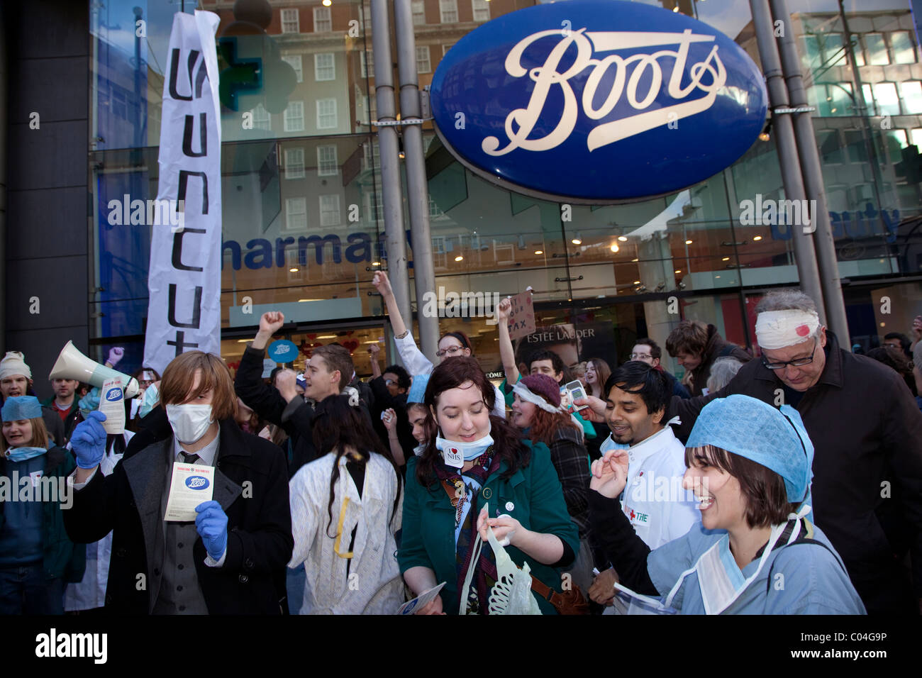 UK Uncut demo against alleged tax-dodging by Boots the chemist, London - Stock Image