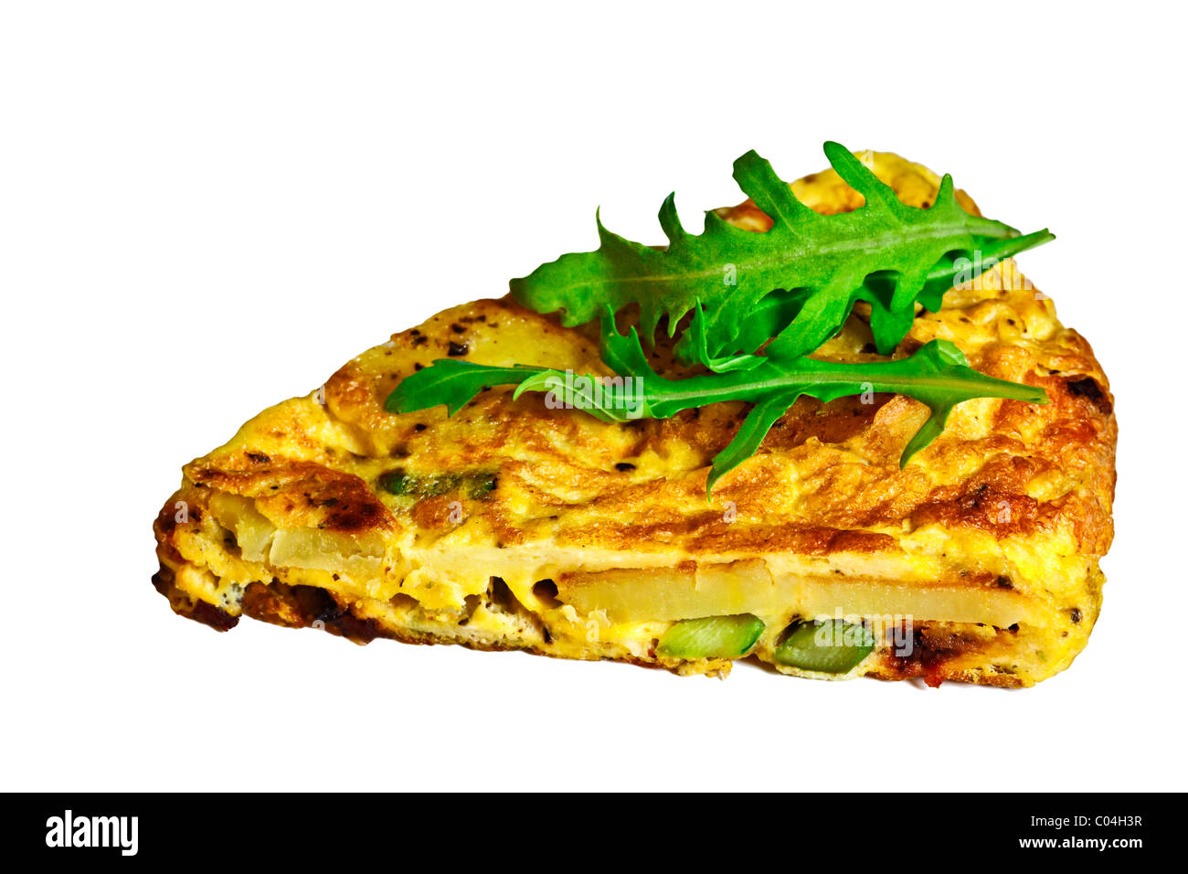 Asparagus, potato, and bacon frittata / omelet isolated on white background. Charles Lupica - Stock Image