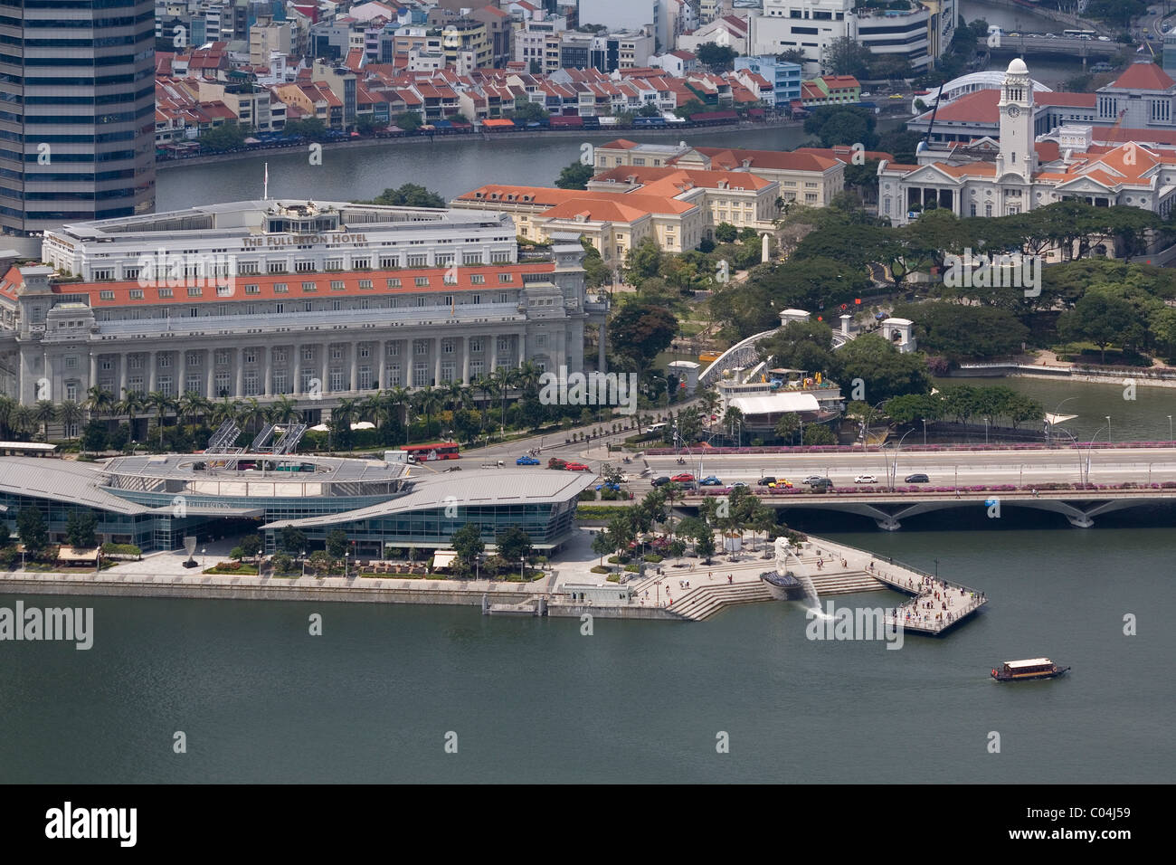 Singapore Fullerton hotel from roof of Marina Bay Sands - Stock Image