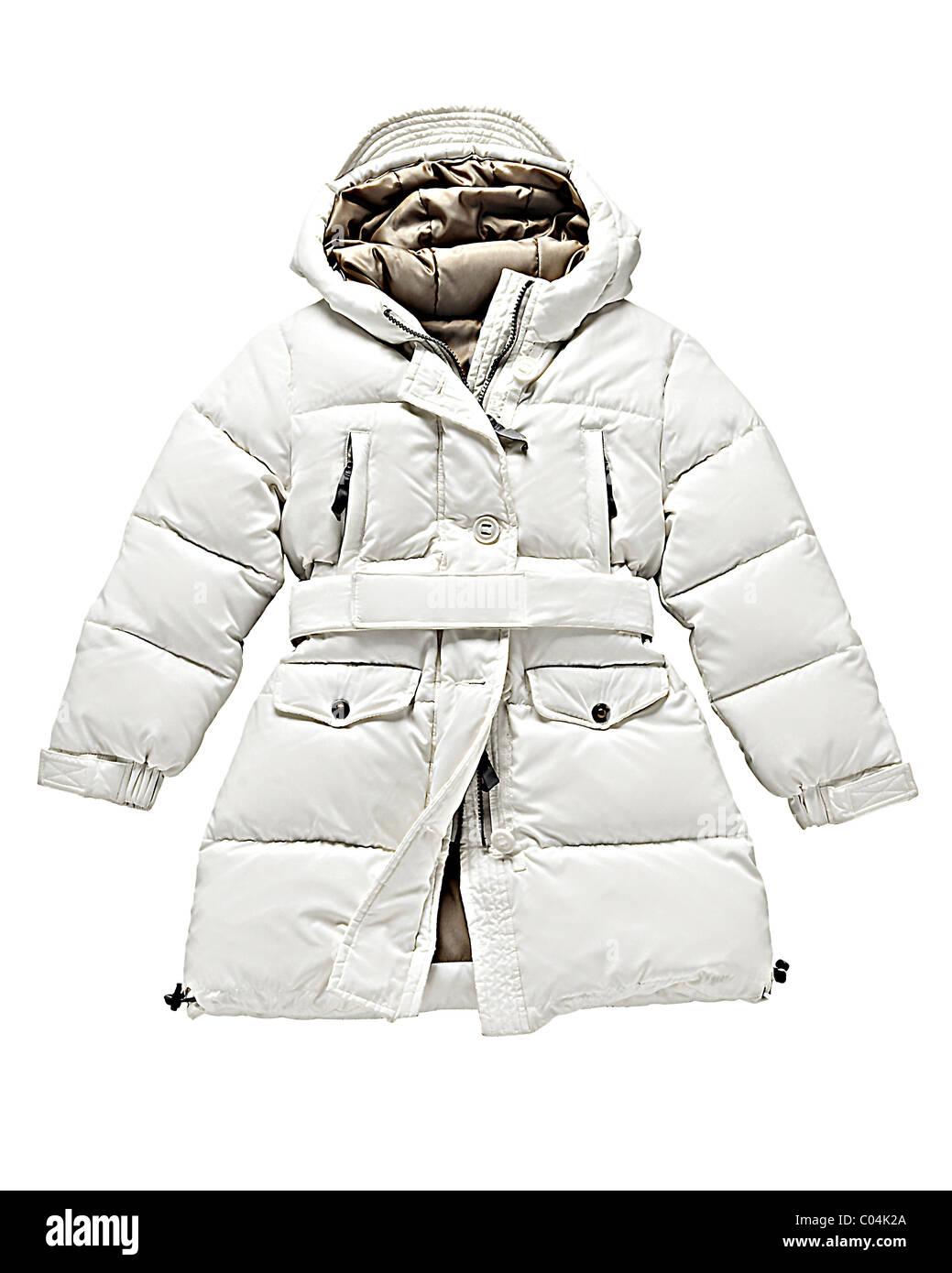 white down jacket on white background Stock Photo