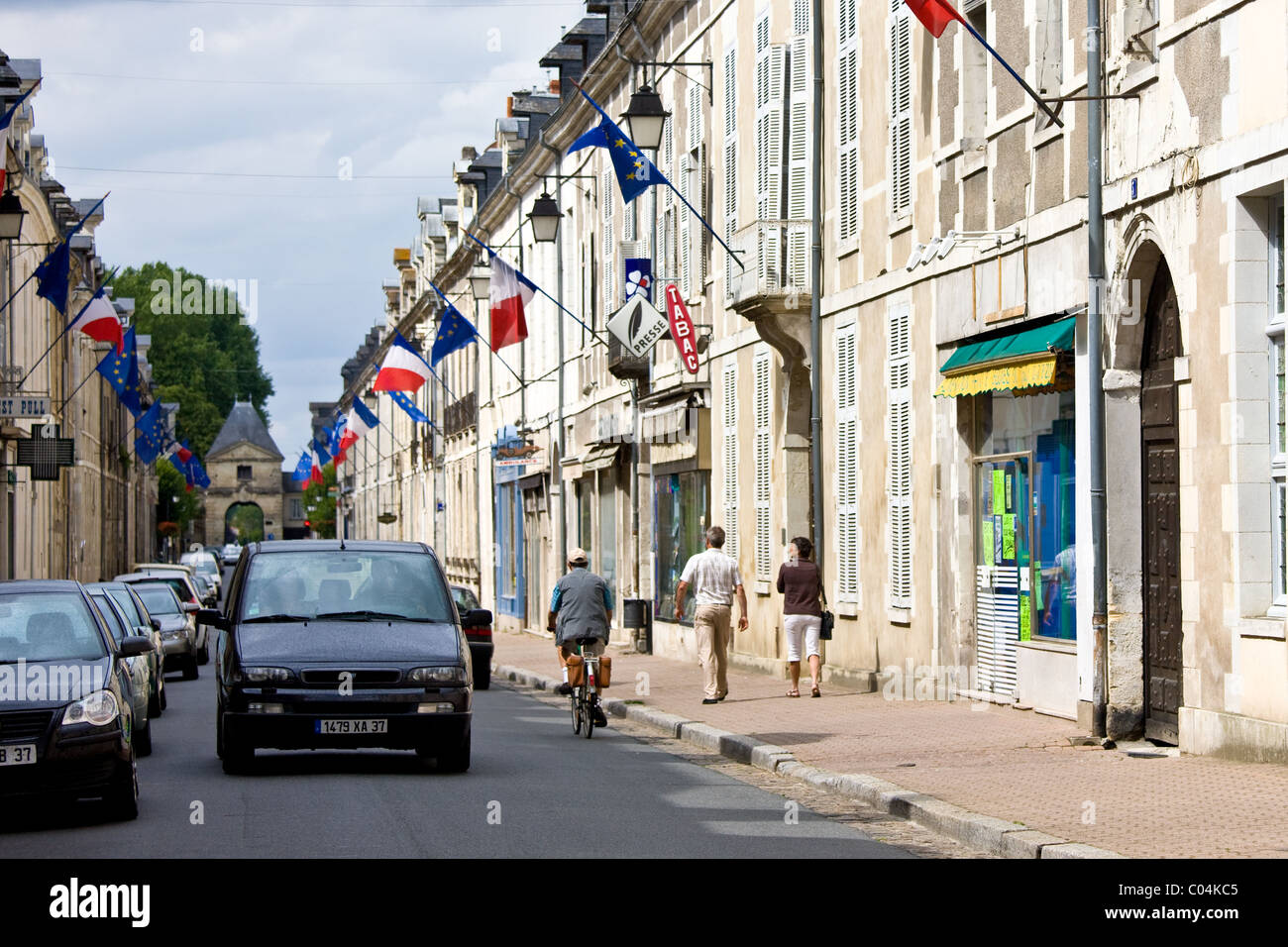 European Community and French flags in town of Richelieu in Loire Valley, Indre et Loire, France - Stock Image