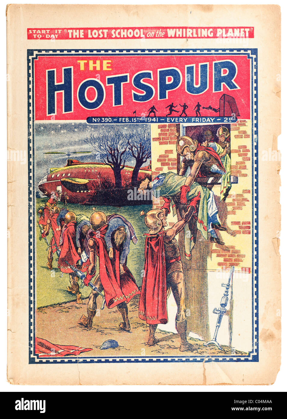 Old torn faded vintage Hotspur comic from February 15th 1941 'The Lost School of the Whirling Planet'. EDITORIAL - Stock Image
