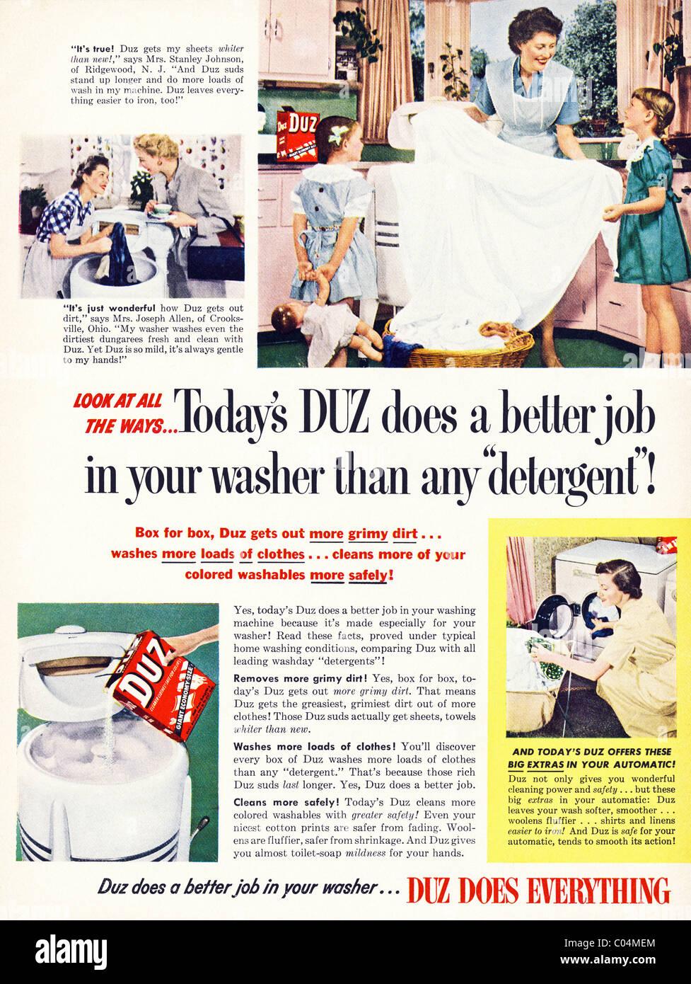 Original 1950s full page advertisement in American consumer magazine for DUZ washing powder - Stock Image