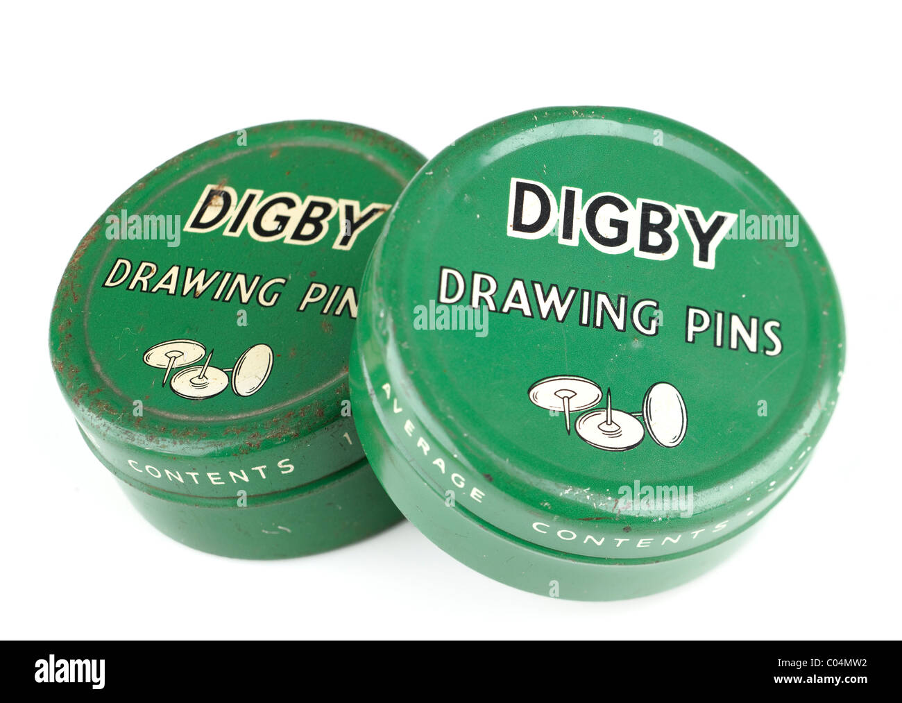 Two old vintage green tins for Digby drawing pins. EDITORIAL ONLY - Stock Image