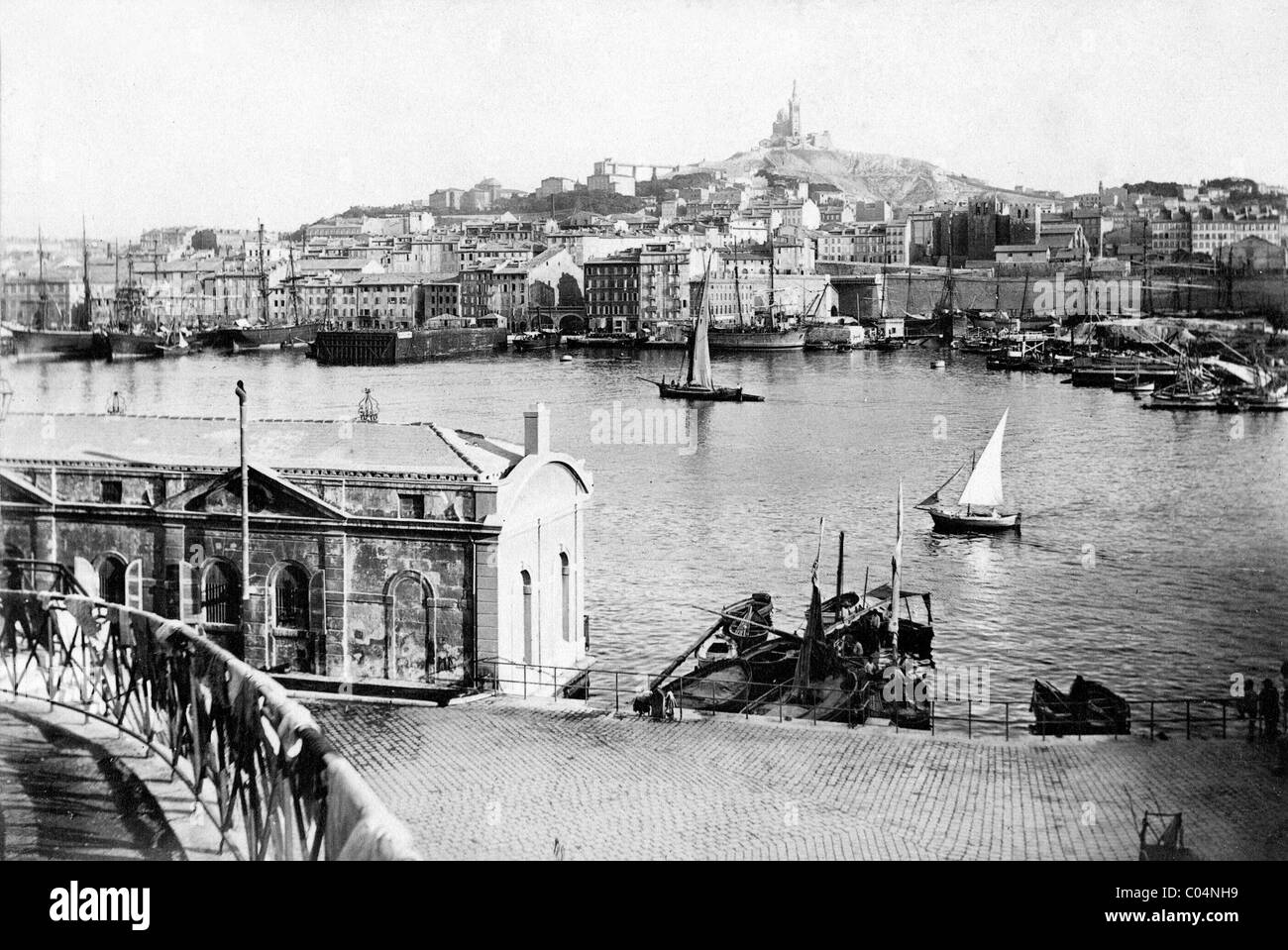 Townscape, Cityscape or View of the Old Port with Yachts or Sailing Boats, Marseille or Marseilles, France c1890 - Stock Image