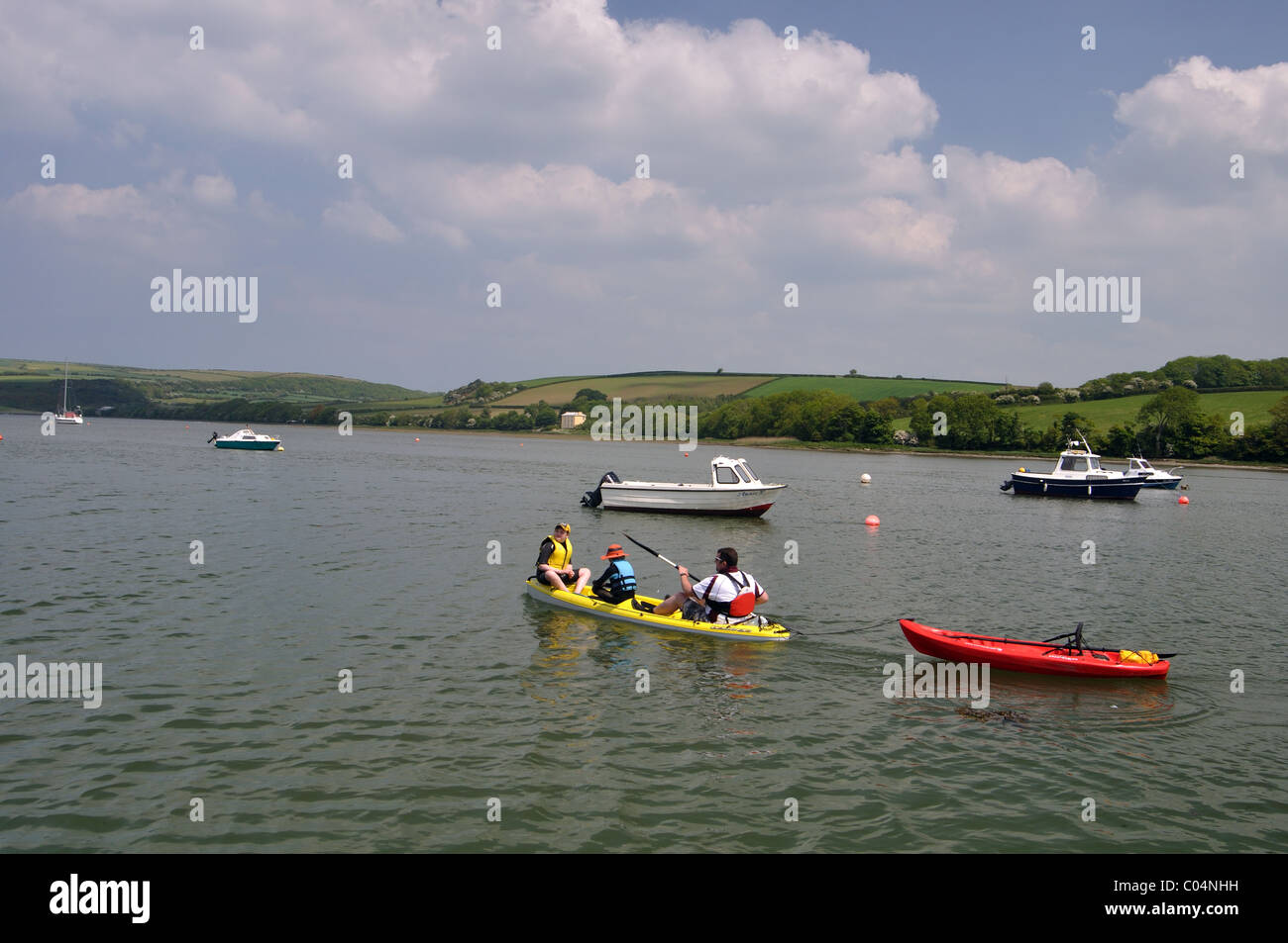 Family kayaking on River Teifi, Pembrokeshire, Wales Stock Photo