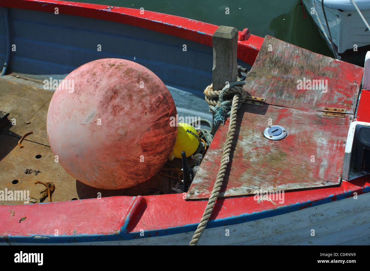 Mooring bouy on boat, river teifi, st dogmaels, pembrokeshire, wales - Stock Image