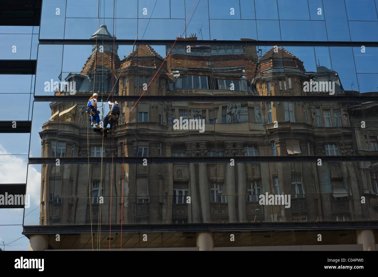 Modern Building In Budapest Hungary Reflecting Older Art