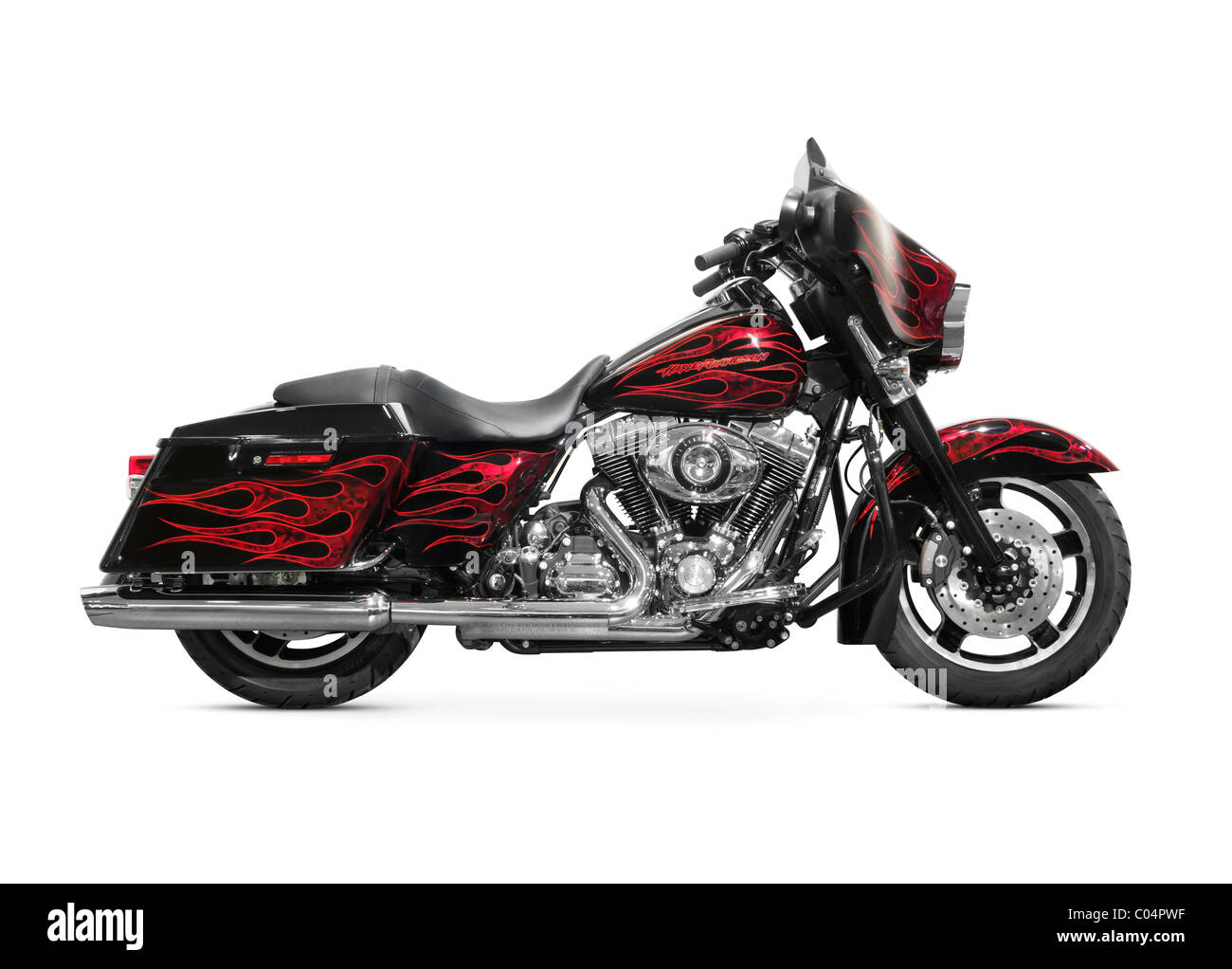 2010 Harley Davidson FLHXSE CVO Street Glide motorcycle isolated on white background - Stock Image