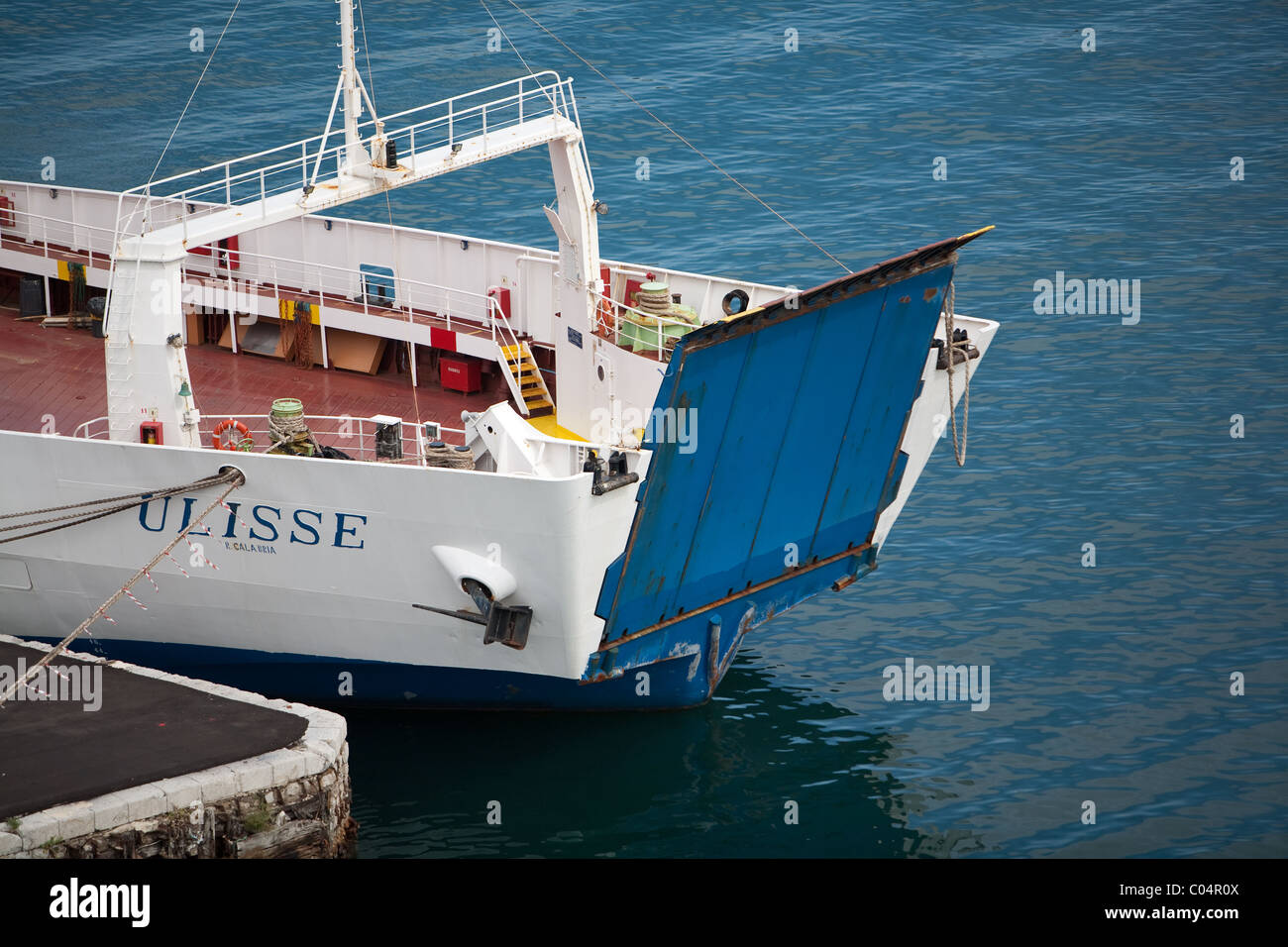 ro-ro ferry berthed in palermo harbour with bow ramp secured up. - Stock Image
