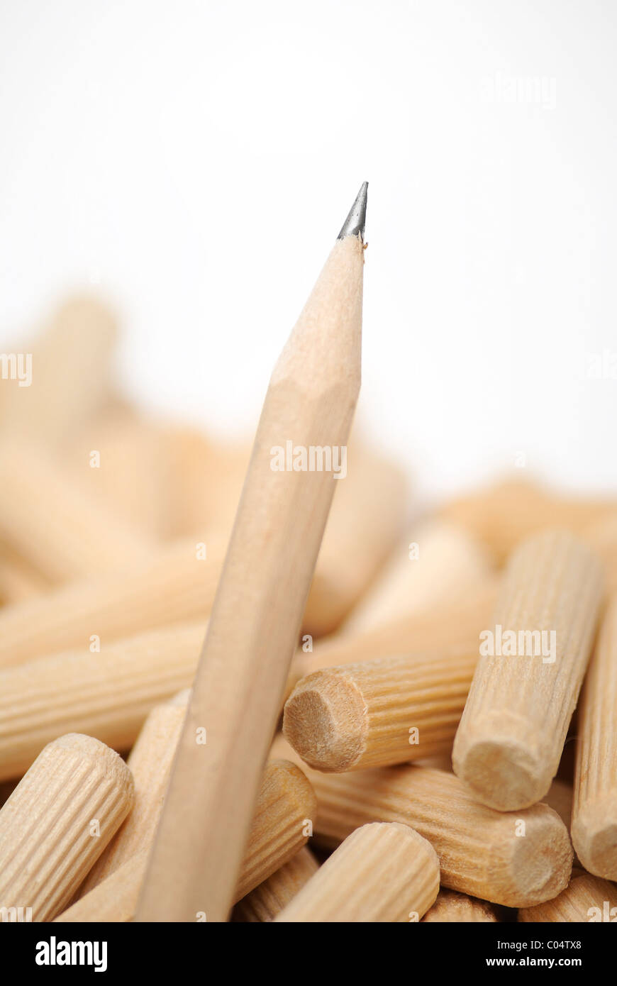 Wooden, sharp pencil with dowels in background - Stock Image