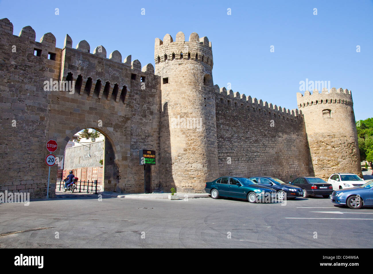 Gate in the Old city walls, Baku, Azerbaijan - Stock Image