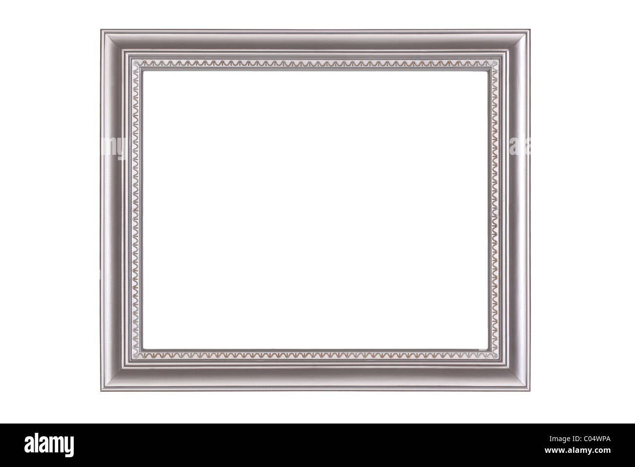 Silver frame isolated on white background - Stock Image