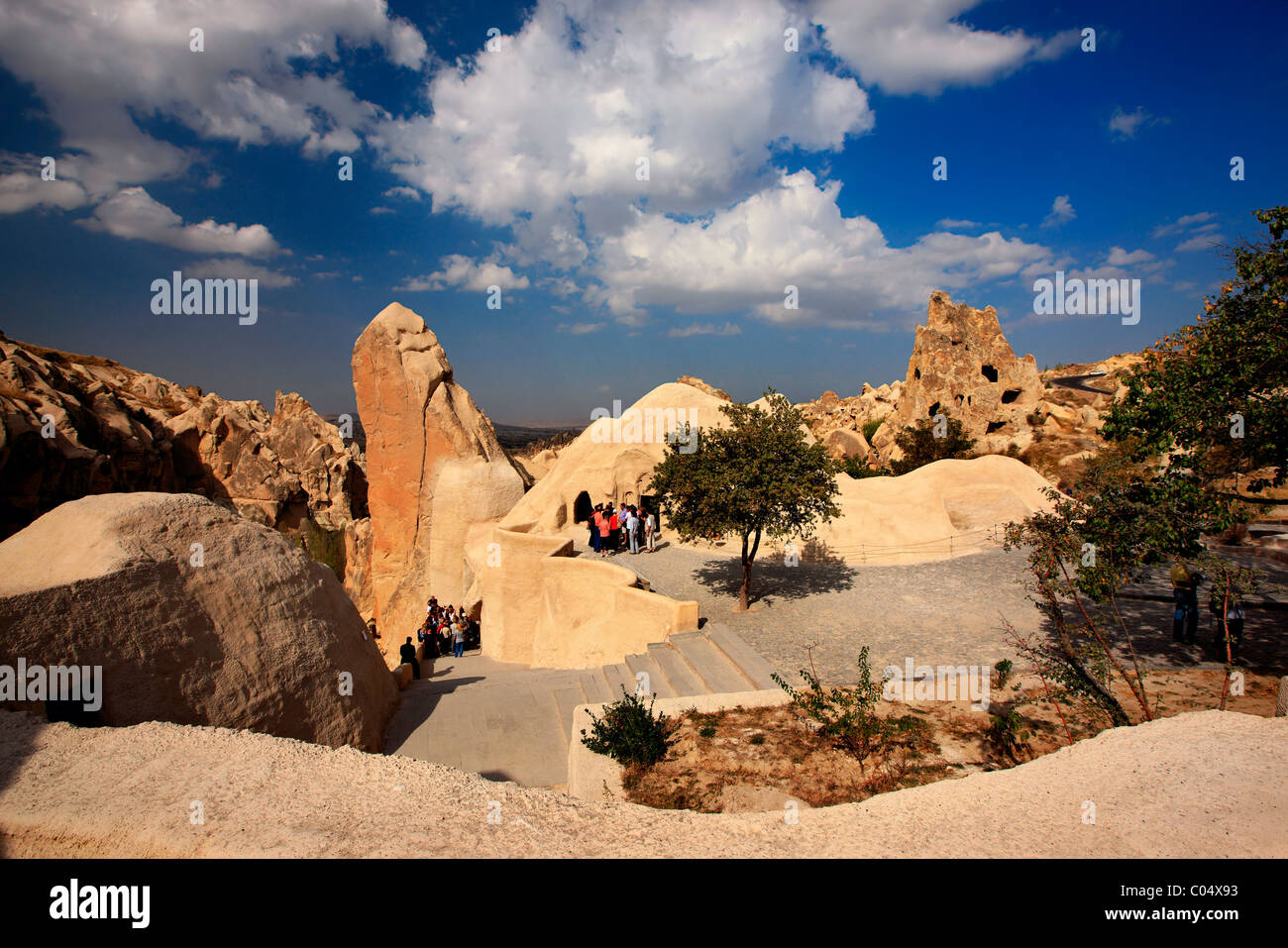Small part (its 'heart') of Goreme Open Air Museum and National Park. Nevsehir, Cappadocia, Turkey. - Stock Image