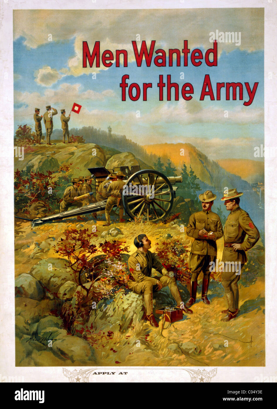 Men Wanted for the Army recruitment poster - Stock Image