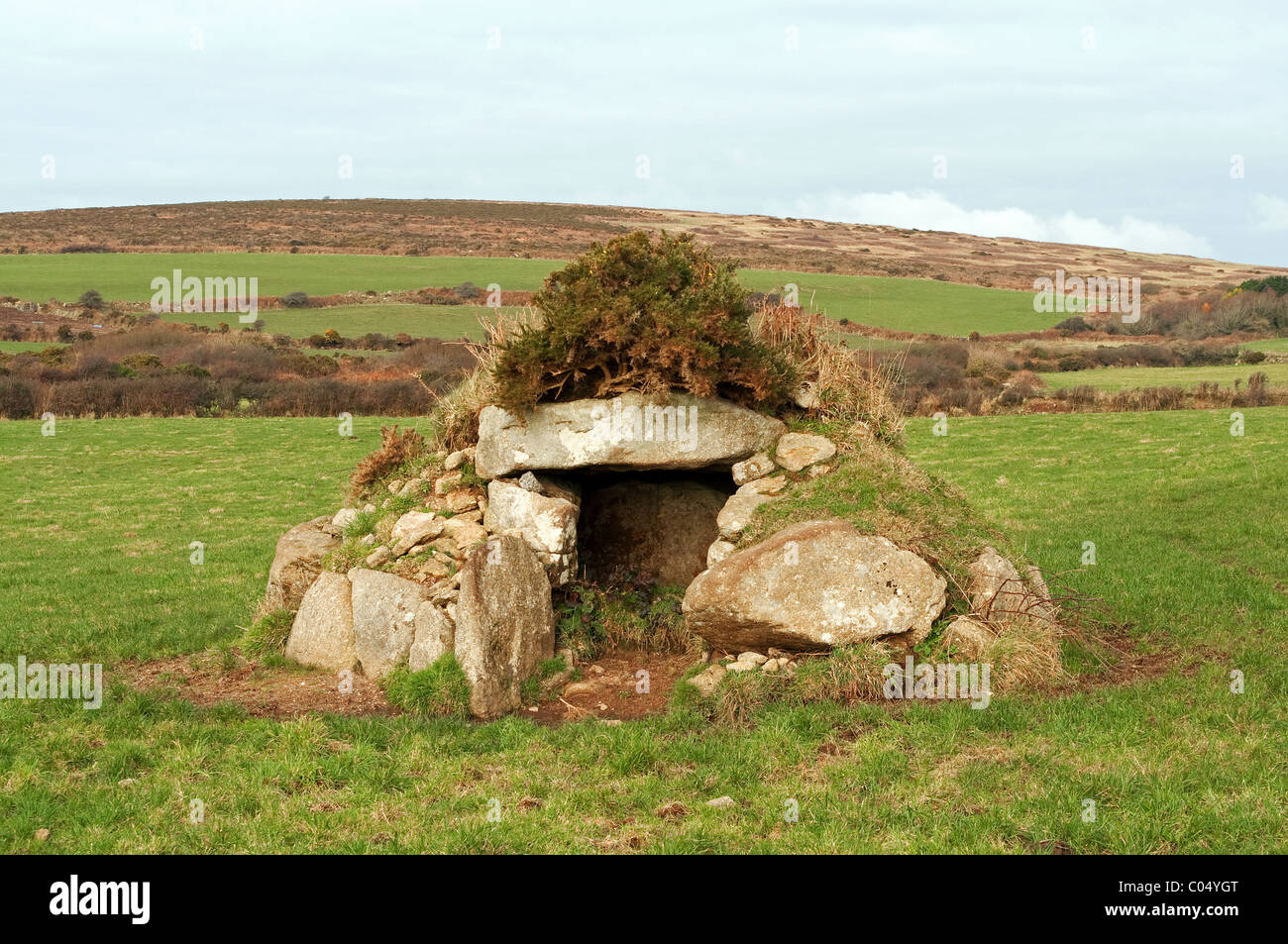 ' Brane Barrow ' an ancient pagan burial chamber, near the hamlet of sancreed in west cornwall, uk - Stock Image