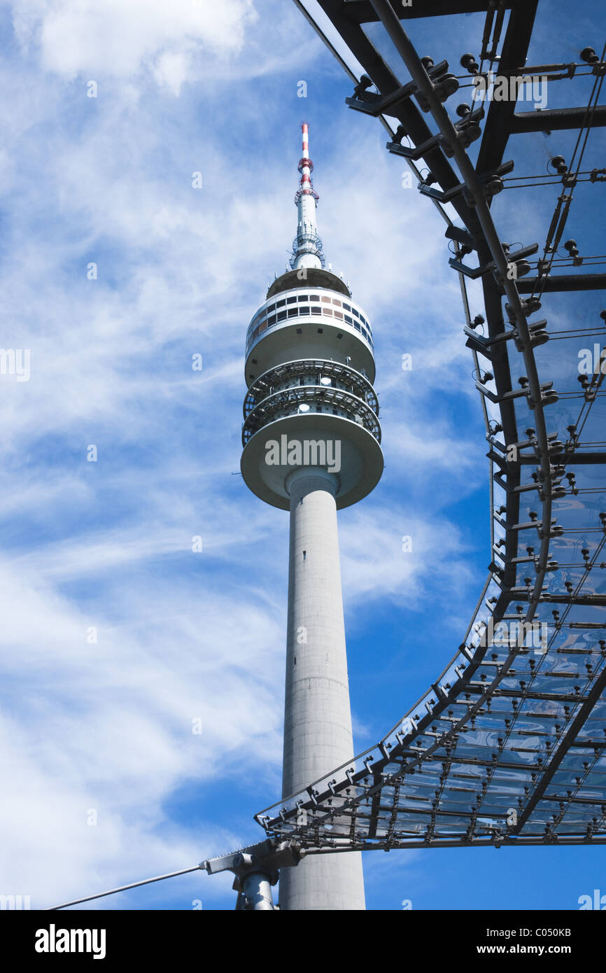Olympic tower of the Olympic Park in Munich, Germany. - Stock Image