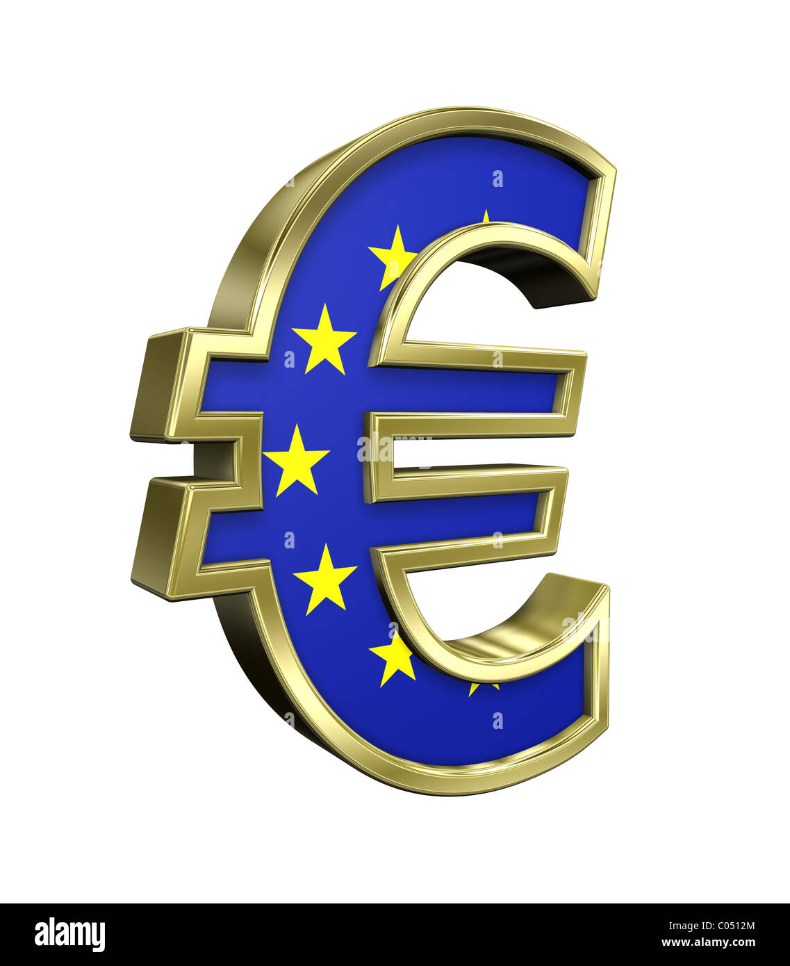 Gold Euro sign with european union flag isolated on white - Stock Image