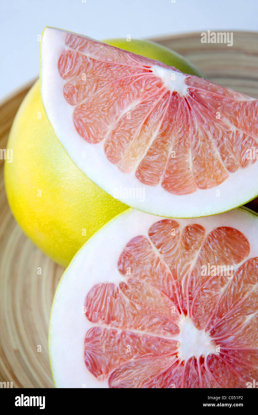 Sliced Pomelo Fruit - Stock Image