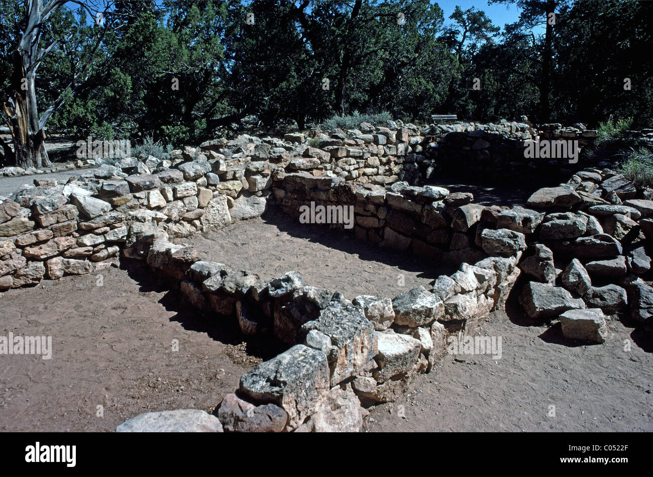 Anasazi Indian Tusayan ruins along East rim drive, South Rim, Grand Canyon National Park, Arizona, USA - Stock Image