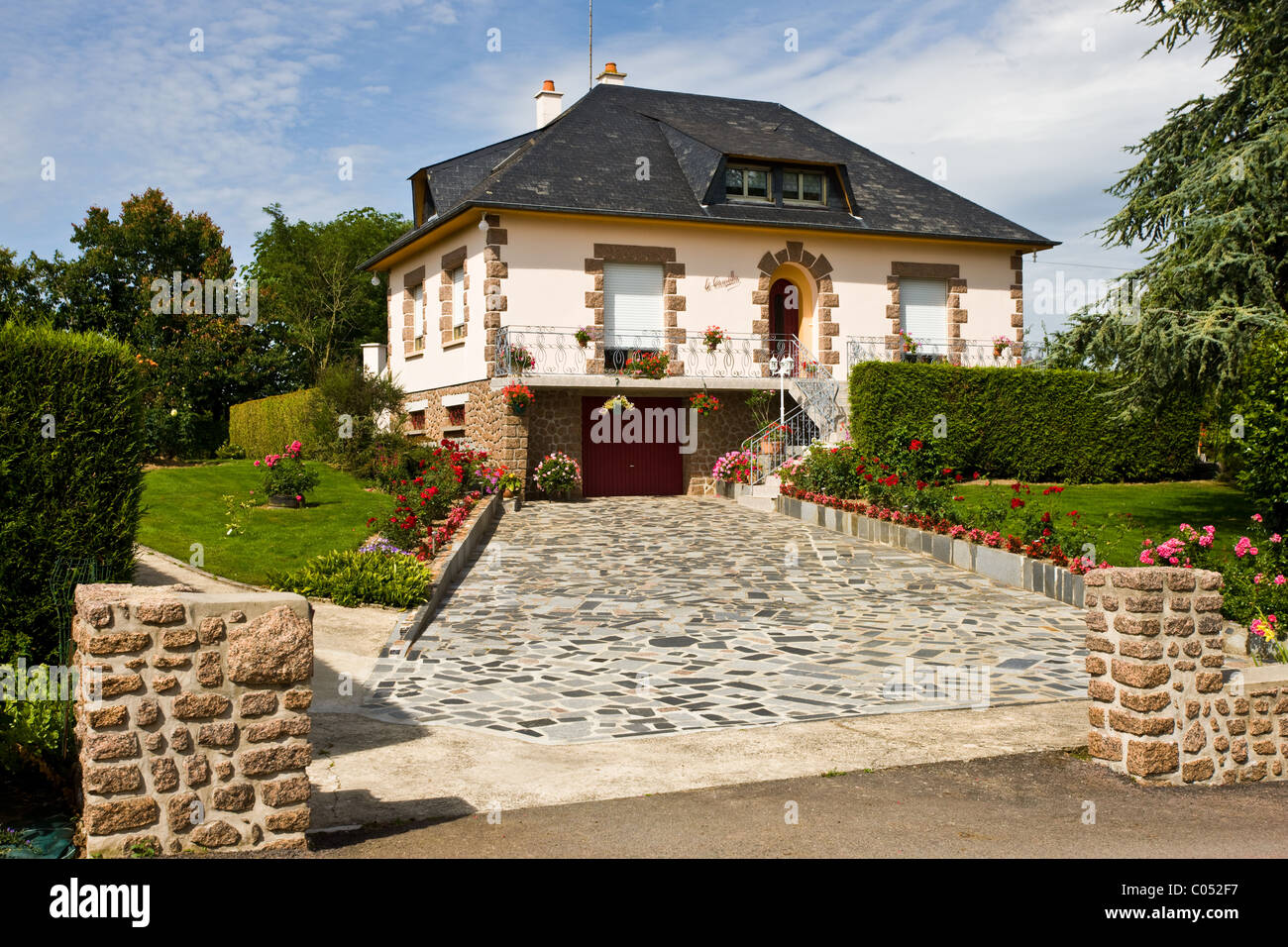 Typical French modern house in period style at Ernee in Normandy, France - Stock Image
