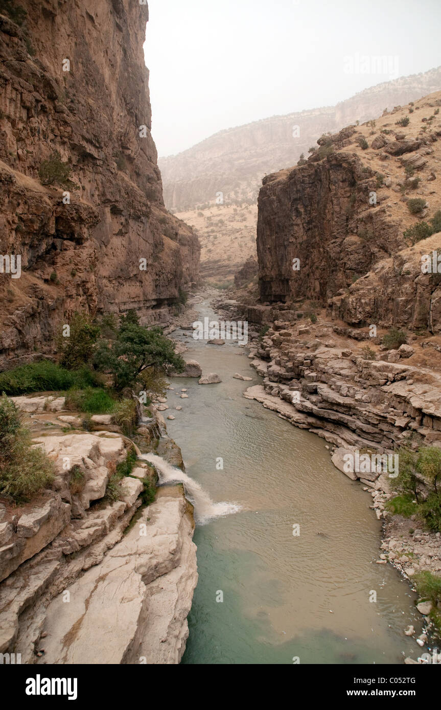 A view of the Gali Ali Beg Canyon and the Choman River in the Zagros Mountains, in the Kurdish region of Northern - Stock Image