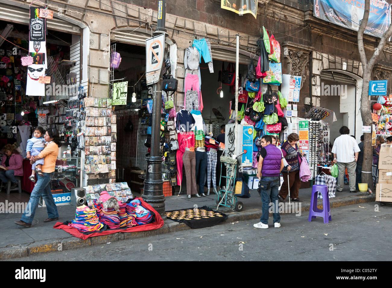 incredible street bazaar jumble energy chaotic scene of Avenida Republica Argentina in centro district Mexico City - Stock Image