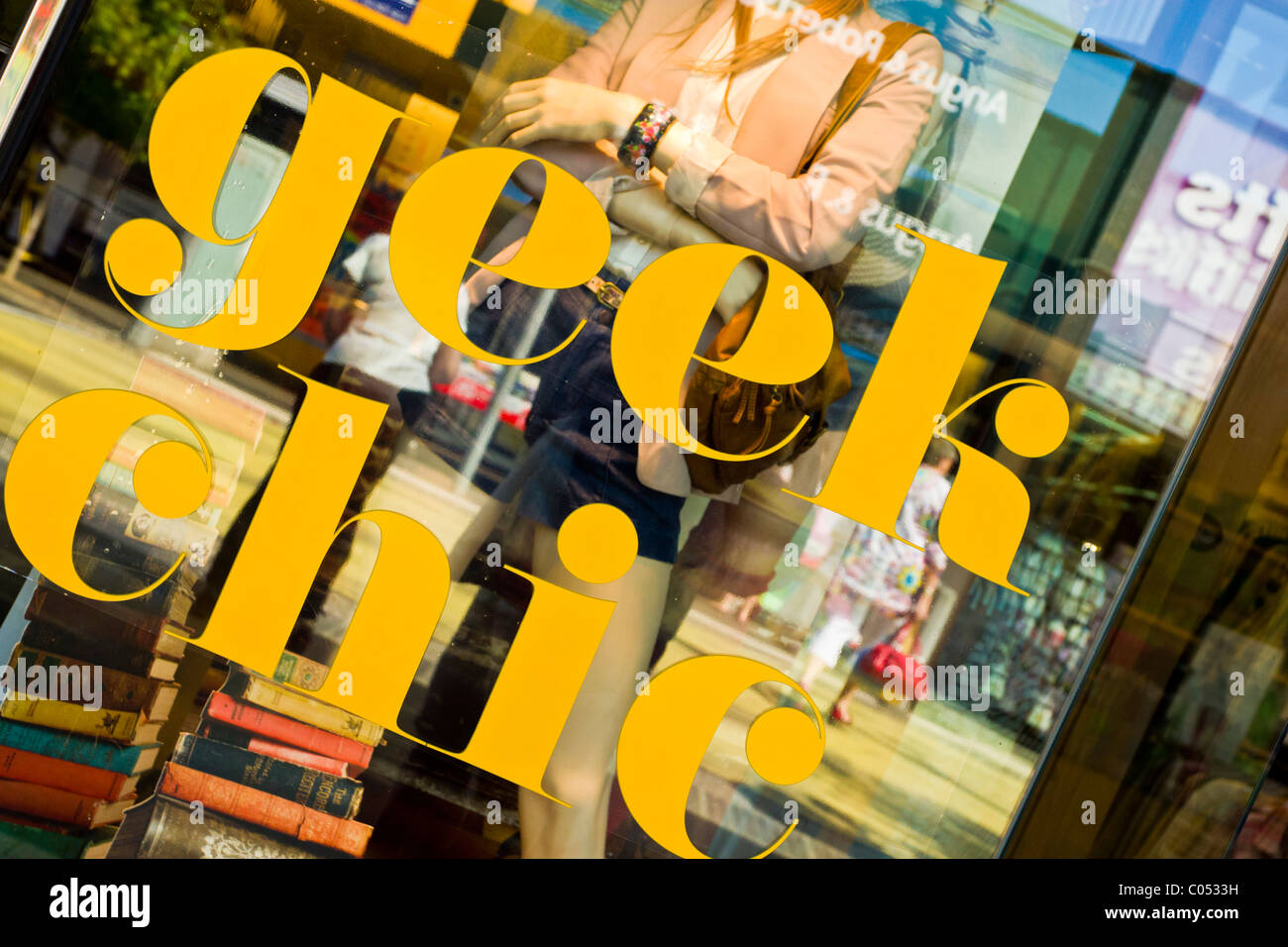 Shop window sign, geek chic - Stock Image