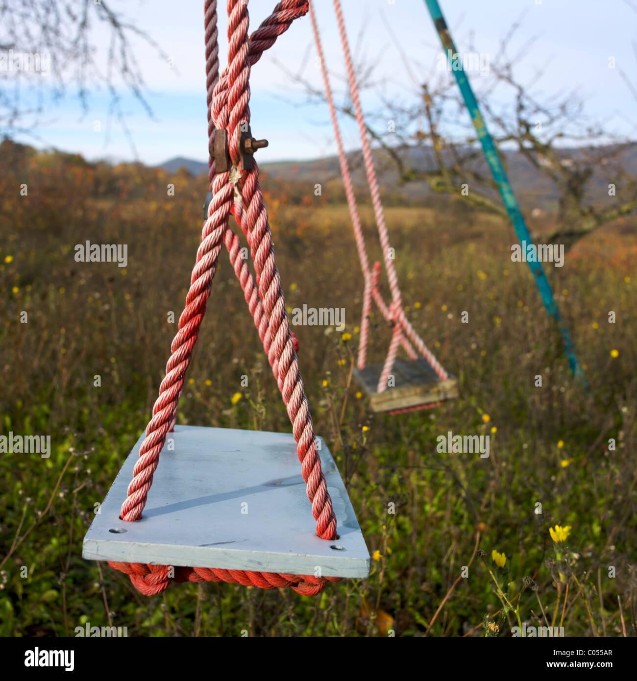 Two swings in a garden - Stock Image